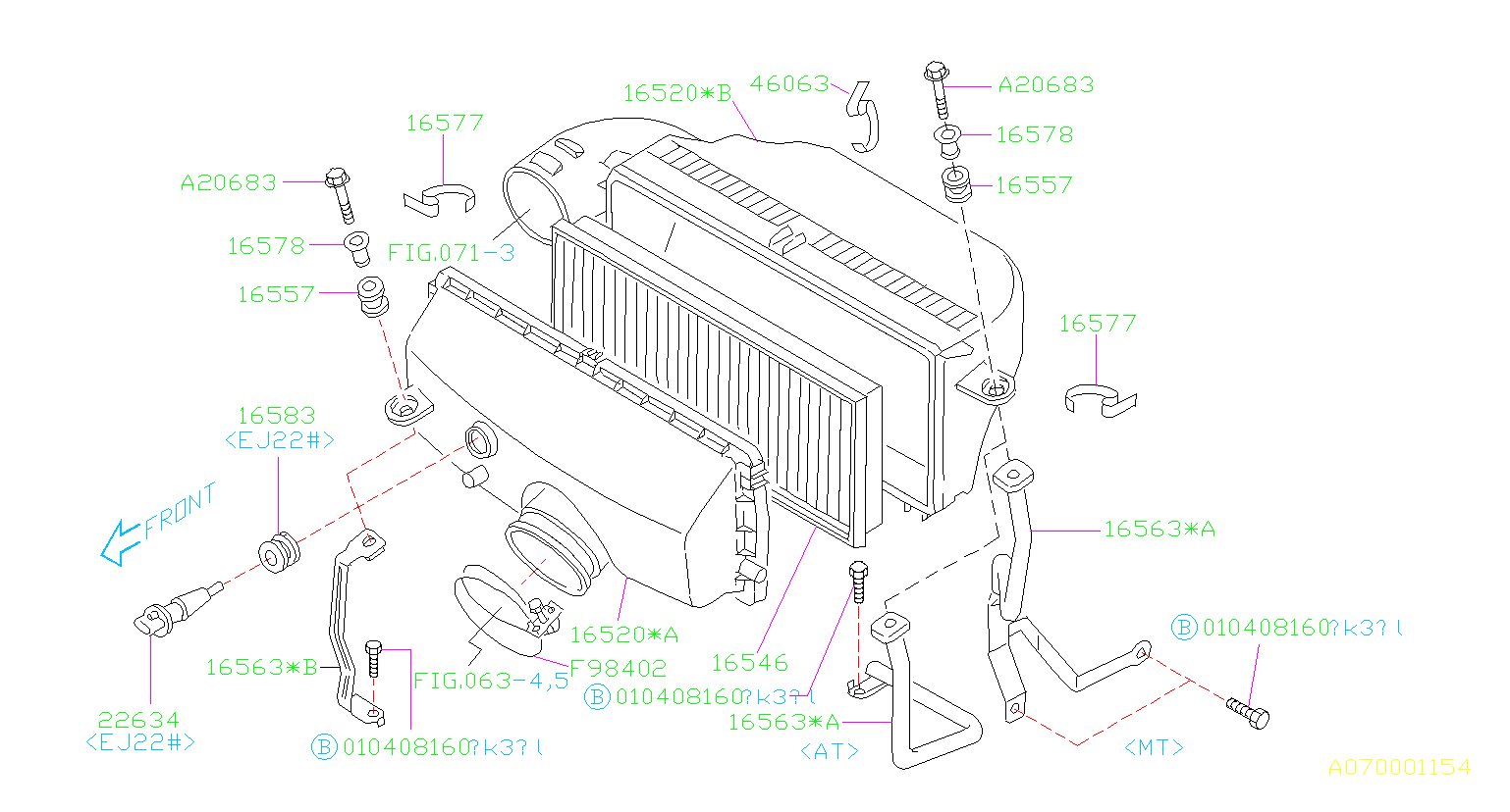 Diagram AIR CLEANER & ELEMENT. for your Subaru